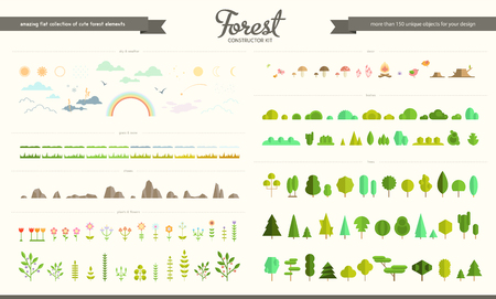 Big vector set of flat forest, park and weather elements, various trees, bushes, grass, flowers, stones, mushrooms, birds, clouds , sun and moon. Nature icon collection, infographic elements. Flat forest constructor. Иллюстрация