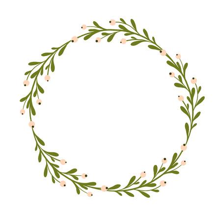 귀 엽 고 부드러운 손 자국 미슬 토 화 환입니다. 계절 배경, 미 슬 토 장식입니다. 계절 인사말, 소박한 크리스마스 화환. 사랑스러운 손으로 그린 장식