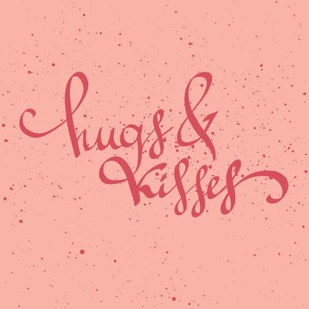 포옹과 키스 손으로 그려진 글자 인용. 발렌타인, 날짜를 저장, 인사말 카드 결혼식. 귀여운 벡터 브러시입니다. 타이 포 그래피 포스터, 인쇄 또는 가
