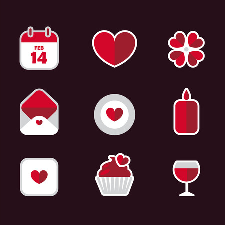 Saint Valentines Day flat icons vector set. Heart, flower, letter, calendar, candle, wineglass, giftbox, cupcake icon collection. Valentine signs and symbols.