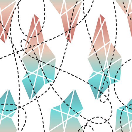Abstract modern geometric seamless pattern with colorful diamond shapes, crystals, gems. Sacred geometry trendy hipster vector texture. Wrapping paper, wallpaper, web page background, surface texture, fabric print.