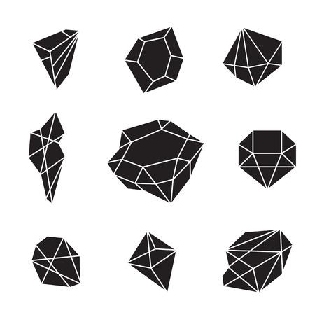 크리 에이 티브 유행 반짝이 다이아몬드, 벡터 디자인 요소 집합입니다. 크리스탈 및 보석 추상적 인 배경입니다. Hipster 스타일의 보석 모양과 형태. 다