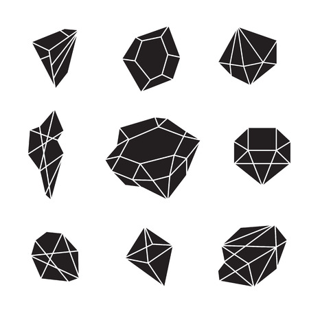 Creative trendy set of shining diamonds, vector design elements. Crystals and gems abstract background. Hipster style gemstone shapes and forms. Different diamond and brilliant icons. Ilustração