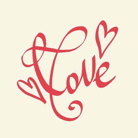 사랑과 마음 필기 휴일 레터링. 벡터 자유형 문자. 발렌타인 인사말 카드입니다. 붓글씨 인용구.