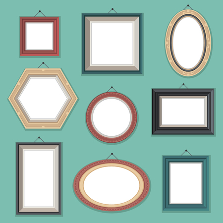 Vector set of flat style empty photo frames on the wall. Different shapes and colors. Photo, picture, drawing, painting frame. Vintage, retro illustration. Cute cartoon frames. Ilustração