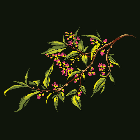 Floral neck line embroidery of stylized colorful blooming branch on dark background. Early spring twig with flowers, flower buds, and leaves. Fashion trend vector illustration.