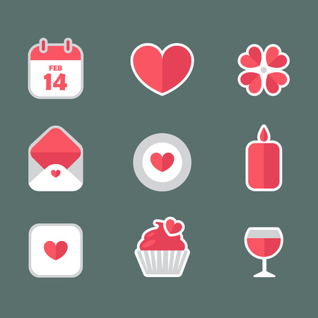 calendar icon: Saint Valentines Day flat icons vector set. Heart, flower, letter, calendar, candle, wineglass, giftbox, cupcake icon collection. Valentine signs and symbols.