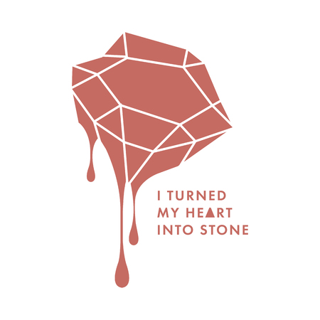 Trendy postcard with bleeding diamond and lettering quote. I turned my heart into a stone illustration. Vector crystal with blood drops. T-shirt print. Poster. Illustration