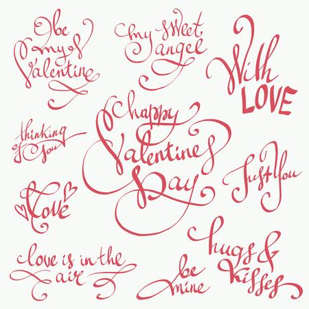 Gelukkige Valentijnsdag lettering vector set. Valentijns decoraties. Zoet, liefde en geluk motivatie citaten. Leuke handgetekende kalligrafie, mooie clipartcollectie ideaal voor wenskaarten, bruiloftuitnodigingen, posters en postzegels. Stock Illustratie
