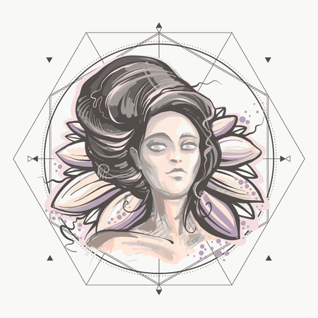 Night lady vector illustration, mysterious woman portrait on the lotus background. Sacred geometry hand-painted print. Illustration