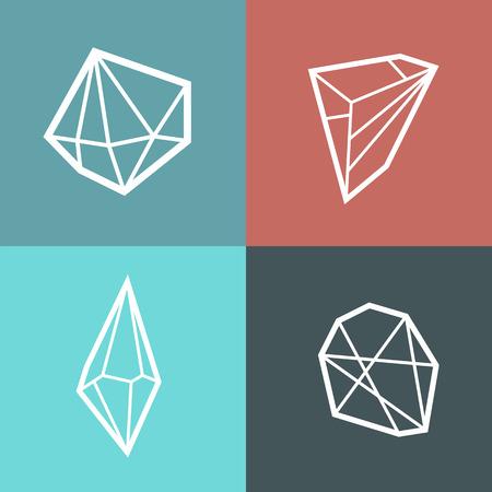 4 다른 개요 크리스탈 유행 사각형 엽서입니다. 다이아몬드 모양 인쇄. 포스터. 일러스트
