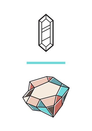 밝은 다이아몬드 결정으로 신성한 형상 크리 에이 티브 엽서. 트렌디 한 포스터, 인쇄. 일러스트