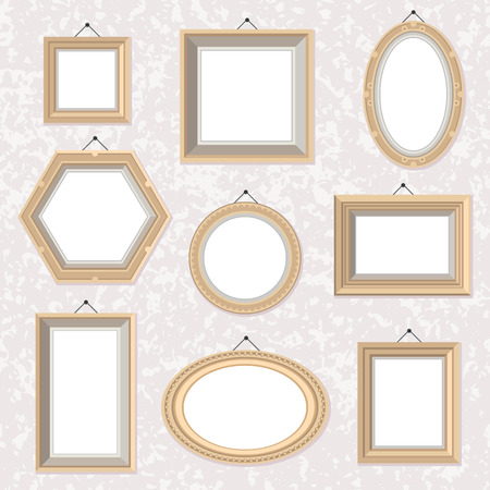 Vector set of flat style golden photo frames on the marble textured wall. Different shapes and colors. Photo, picture, drawing, painting frame. Vintage, retro illustration. Cute cartoon frames, great for wedding ivitations, postcards, posters. Ilustração
