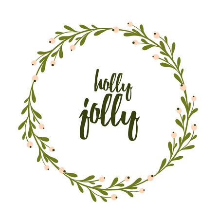 귀 엽 고 부드러운 크리스마스와 새 해 인사말 카드 손전등 미 슬 토 화 환을. 크리스마스 레터링. 홀리 유쾌한 휴일 배경입니다. 견적을 레터링. 일러스트