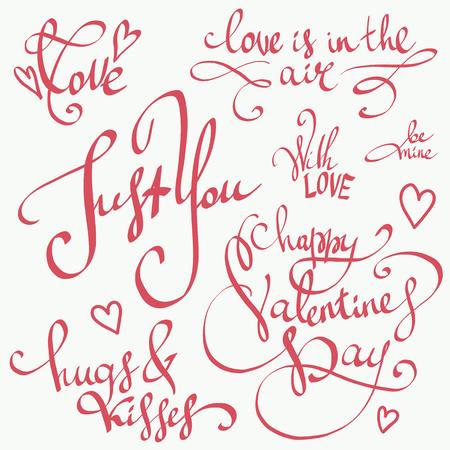 해피 발렌타인 데이 문자 벡터 설정합니다. 발렌타인 장식입니다. 달콤한, 사랑과 행복 동기 부여 따옴표. 귀여운 손으로 그려진 서 예, 인사말 카드,