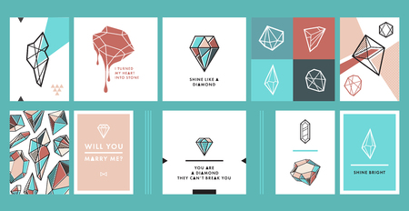 Vector set of trendy hipster postcards with gems and diamond shapes. Creative poster, banner, print. Different bright crystals and gemstones.