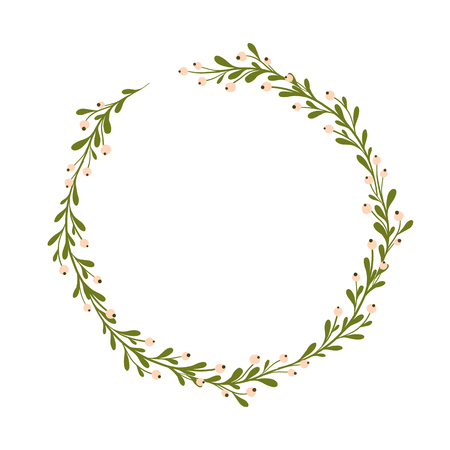 Cute and gentle handsketched mistletoe wreath. Seasonal background, mistletoe decor. Seasons greetings, rustic christmas wreath. Lovely hand drawn decoration.