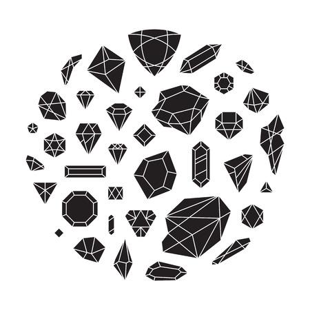 크리 에이 티브 유행 다이아몬드 모양 집합, 벡터 디자인 요소. 크리스탈과 반짝이 보석 추상적 인 배경입니다. Hipster 스타일의 보석 형태. 다른 다이아 일러스트
