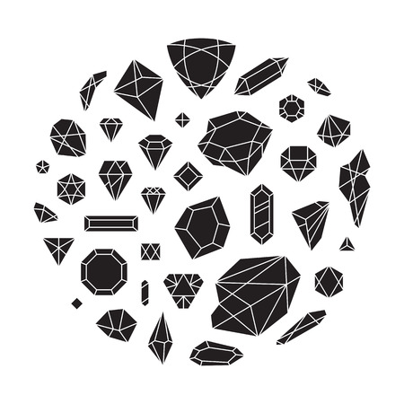 Creative trendy set of diamond shapes, vector design elements. Crystals and shiny gems abstract background. Hipster style gemstone forms. Different diamond icons.