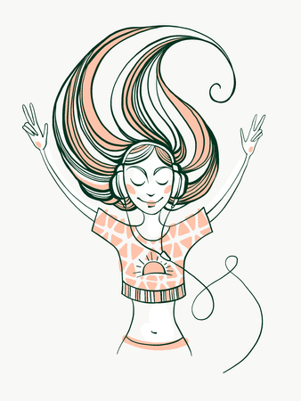 Illustration of a beautiful cute romantic young girl with wavy hair listening music on headphones. Lovely music. Character design. Spring mood. Enjoying life.