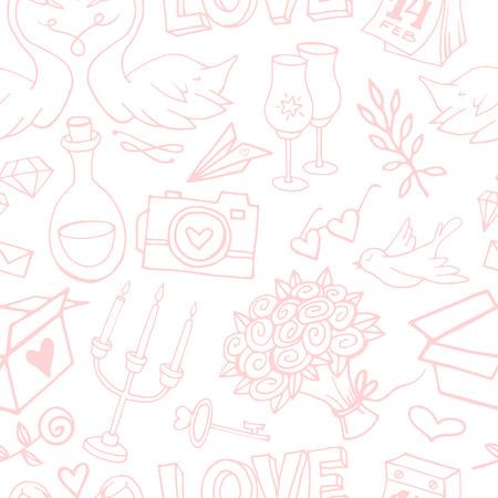 귀 엽 고 부드러운 발렌타인 손짓 섬세 한 원활한 패턴. 발렌타인 데이 낙서 요소에 질감 된 배경. 사랑의 상징으로 포장지 일러스트