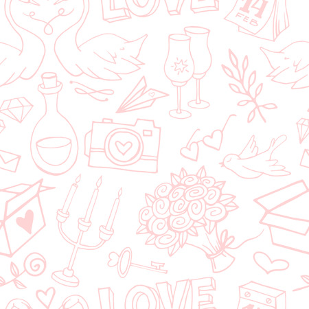 Cute and gentle Valentines Day handsketched delicate seamless pattern. Valentine doodle elements on textured background. Wrapping paper with love symbols