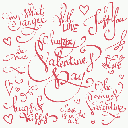 Happy Valentines Day lettering vector set. Valentine decorations. Sweet, love and happiness motivation quotes. Cute hand drawn calligraphy, beautiful clipart collection great for greeting cards, wedding invitations, posters and stamps.