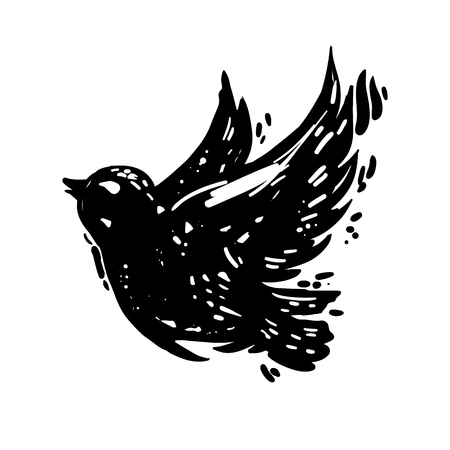 Hand drawn lino-cut style trendy and expressive vector sketch of flying bird. Ink, grunge style illustration of dove silhouette isolated on white background. Иллюстрация