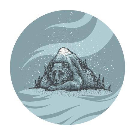 눈 보자. 귀 엽 고 사랑스러운 손 자 고 오래 된 잠자는 숲의 그림처럼 산에 보인다. 포리스트 곰, 겨울 분위기, 크리스마스 카드. 계절 인사말. 일러스트