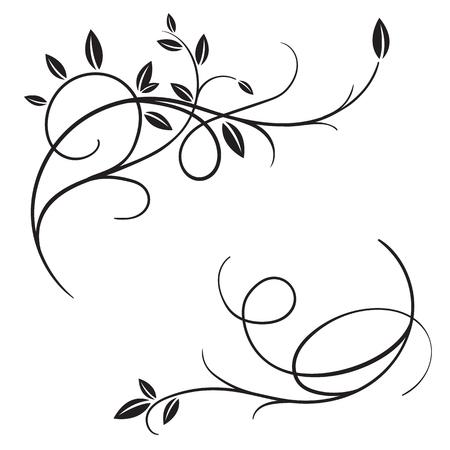 손으로 그려진 된 벡터 빈티지 flourishes 및 봄 나뭇 가지 흰색 배경에 고립의 집합입니다. 나뭇 가지와 나뭇잎 장식 프레임입니다. 레트로 소용돌이 화 일러스트