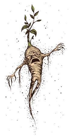 만달레이의 울 부 짖는 손으로 그린 된 빈티지 스타일 벡터 일러스트 레이 션. 신비로운 생물, 맨드레이크 뿌리, 호문클루스, 연금술, 신화와 전설, 요 일러스트