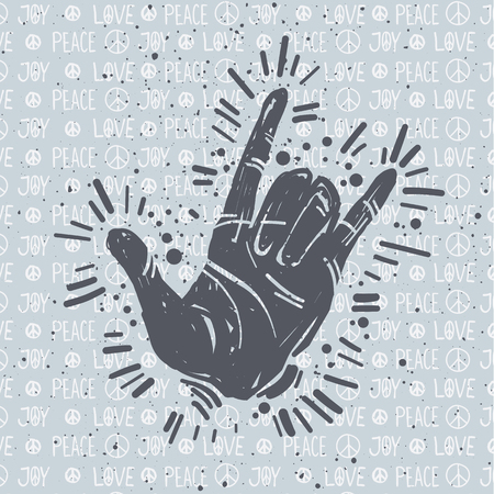 국제 평화의 날 손으로 그린 엽서, 손 제스처, 사랑 평화 기쁨 문자 및 평화 기호, 기호. 문신, 히피, 힙 스터, 보호, 리노 컷 스타일 프린트. 스톡 콘텐츠 - 94706803