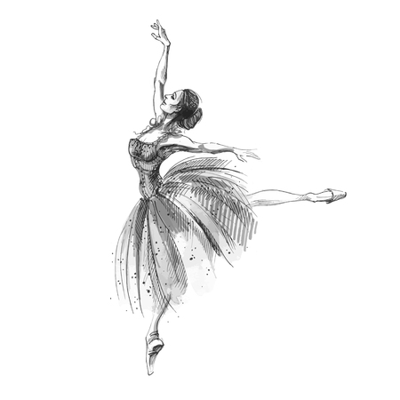 Ballet dancer, ink and watercolor illustration of russian ballerina. Dancing girl, classical ballet. Swan lake vector art.