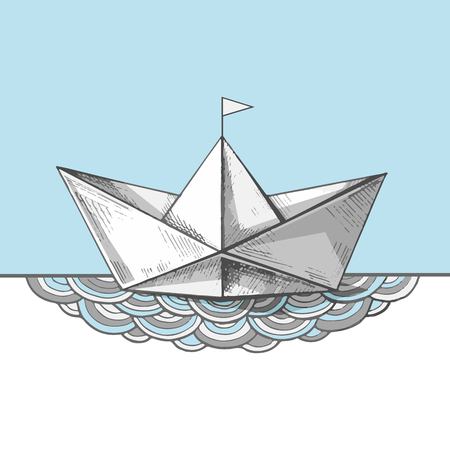 Cute handsketched paper ship on the waves, vector illustration. Art print with a boat on the sea. Ocean calling. 일러스트