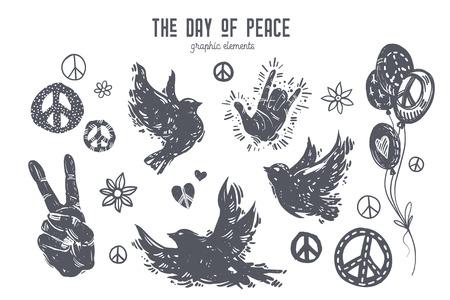 평화 기념일의 국제 날. Linocut 작풍 새, 비둘기, 손, 풍선, 평화 상징, 심혼, 꽃. 손으로 그린 벡터 요소 디자인 포스터, 카드, t- 셔츠, 웹 배너. 일러스트