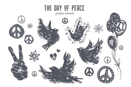 International day of peace graphic set. Linocut style birds, doves, hands, balloons, peace symbols, hearts, flowers. Hand drawn vector elements for design poster, card, t-shirt, web banner. Иллюстрация
