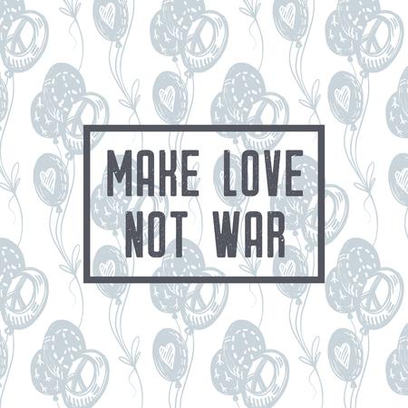 전쟁을 사랑하지 마라. 국제 평화의 날 섬세 한 손으로 그린 풍선, 평화 서명, 기호, 흰색 배경에 파란색 비행 파란색으로 그려진 된 엽서. 문신, 히피,