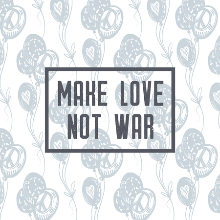Make love not war. International peace day delicate hand drawn postcard with blue flying balloons, peace signs, symbols, hearts on white background. Tattoo, hippie, hipster, boho, lino-cut style print.