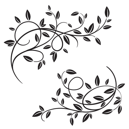 Set of hand drawn vector vintage flourishes and spring tree branches isolated on white background. Decorative frame with branches and leaves. Retro swirl ornate garden decoration, border. For calligraphy style postcard, menu, wedding invitation, romantic graphic design.
