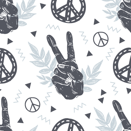 International peace day trendy hipster seamless pattern with hand gesture, victory sign, branches, triangle, zigzag and peace symbols on textured background. Peace sign, hands, plants, floral, gesture vector elements. Ilustração