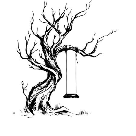 오래 된 비뚤어진 된 트리 스윙 손 그림을 보여줍니다. 마른 나무, 틴 더. 속이 빈 시소와 낙 엽 오크 트리의 잉크 스케치. 자유형 선형 손으로 그려진 된 그림 레트로 낙서 그래픽 스타일입니다. 빈티지 벡터 트리입니다. 외로움의 우화 스톡 콘텐츠 - 94762828