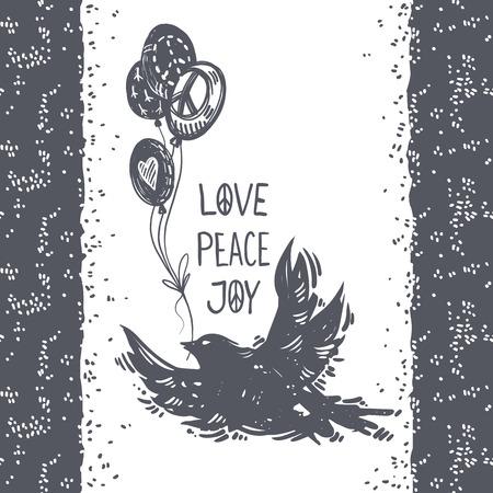 사랑 평화 기쁨 편지. 국제 평화 하루 손으로 그린 된 엽서 비행 비둘기, 조류 및 풍선. 평화, 문신, 히피족, hipster, boho, lino-cut 스타일의 상징. 일러스트