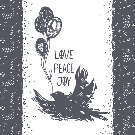 Love peace joy lettering. International peace day hand drawn postcard with flying dove, bird and balloons. Symbols of peace, tattoo, hippie, hipster, boho, lino-cut style print. Ilustração