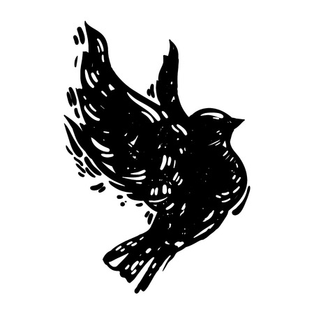 Hand drawn linocut style trendy and expressive vector sketch of flying bird. Ink, grunge style illustration of dove silhoette isolated on white background