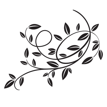 Hand drawn vector vintage spring tree branch with leaves isolated on white background. Retro swirl ornate garden decoration, border, frame, corner. For calligraphy style postcard, menu, wedding invitation, romantic graphic design. Ilustração