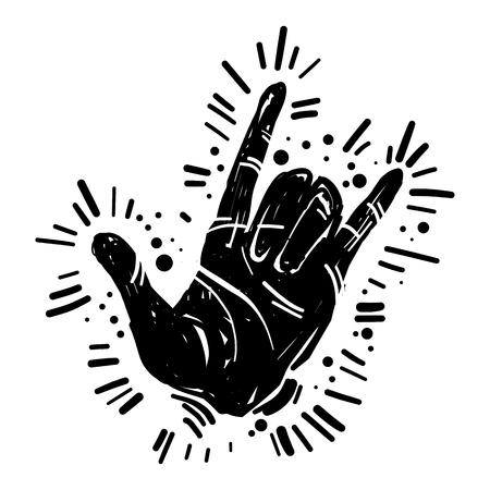 바위와 롤, 중 금속, 제스처 기호, 손으로 그린 락 축제 포스터, 전단지. 그런 지 서식 파일, 잉크 그림, 광선, 햇살 하드 록 음악 기호. 일러스트