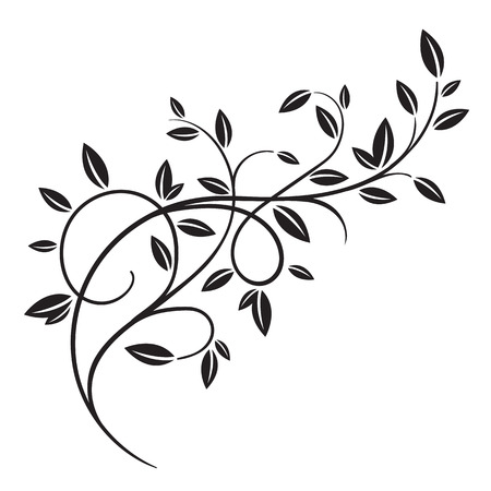 Hand drawn vector vintage spring tree branch with leaves isolated on white background. Retro swirl ornate garden decoration, border, frame, corner. For calligraphy style postcard, menu, wedding invitation, romantic graphic design. Vettoriali