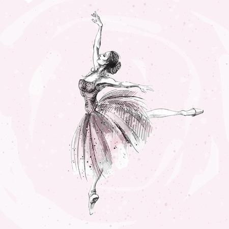 Ballet dancer, ink and watercolor illustration of Russian ballerina. Dancing girl, classical ballet, swan lake vector art.