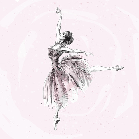 Ballet dancer, ink and watercolor illustration of Russian ballerina. Dancing girl, classical ballet, swan lake vector art.