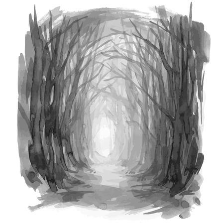 우드랜드 경로. 유령의 숲 흔적, 수채화 그림입니다. 오래 된 나무, 매혹 된 숲, 숲으로. 벡터 배경 일러스트